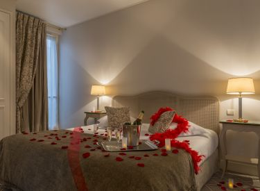 Improve Your Journey Opening Hotel Room Door And Follow The Rose Petals Route To Bed Which Will Have Romantic Ornaments Include Champagne As