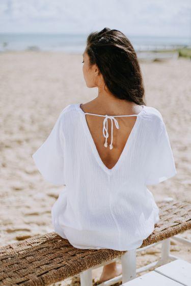 Sortie de plage blanche
